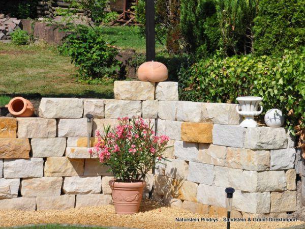 Sandstein Mauersteine 20x20x40 cm Lagerfugen gesägt, Trockenmauer aus Polen